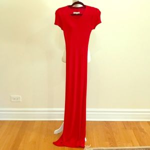 Mark Eisen red jersey knit long gown